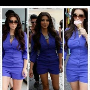 KARDASHIANS BEBE PURPLE SILK AND SPANDEX ROMPER